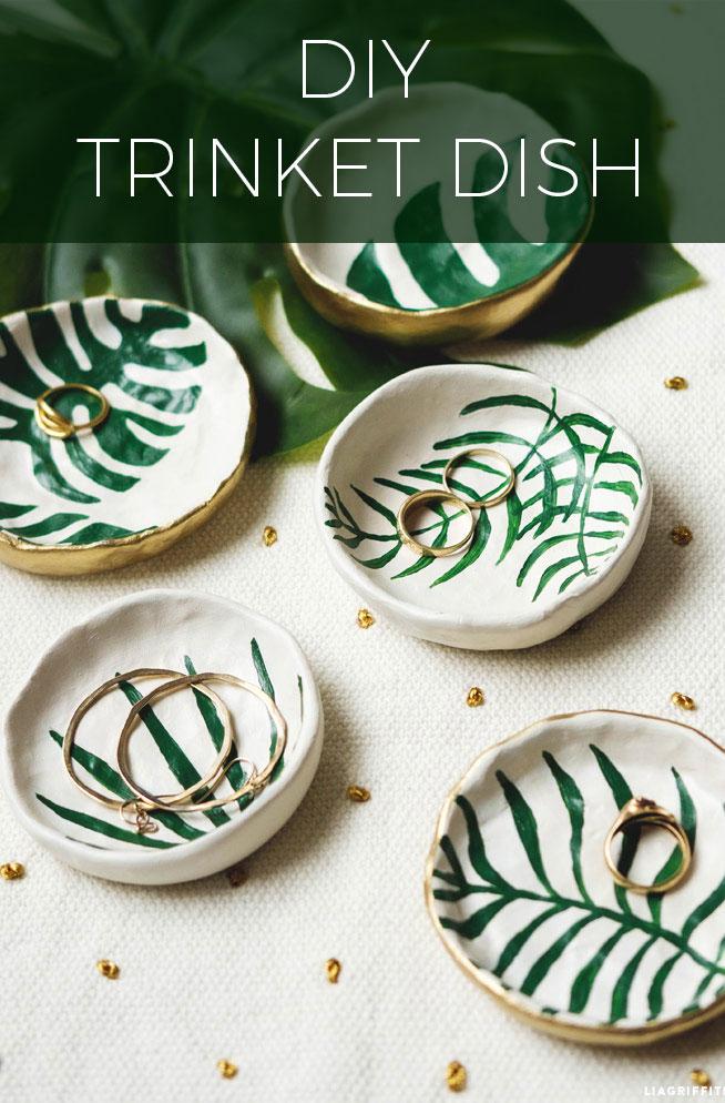 DIY Leaf trinket dish for jewellery.