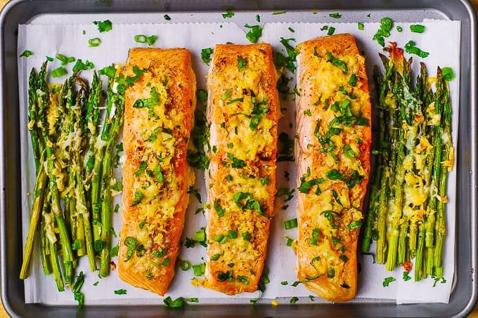 Garlic Parmesan Crusted Salmon and Asparagus.