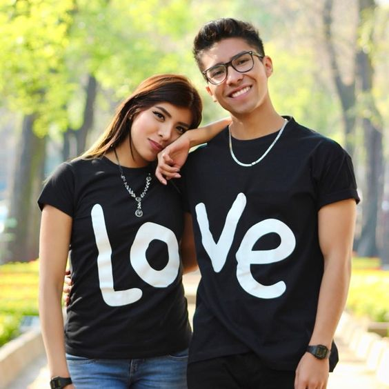 Go for matching LOVE T-shirt.