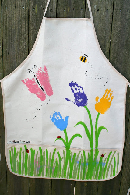 Hand and foot print apron for mom.
