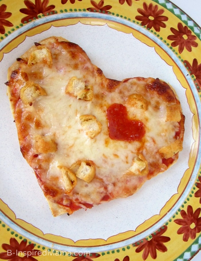 Heart shape pizza for dinner.