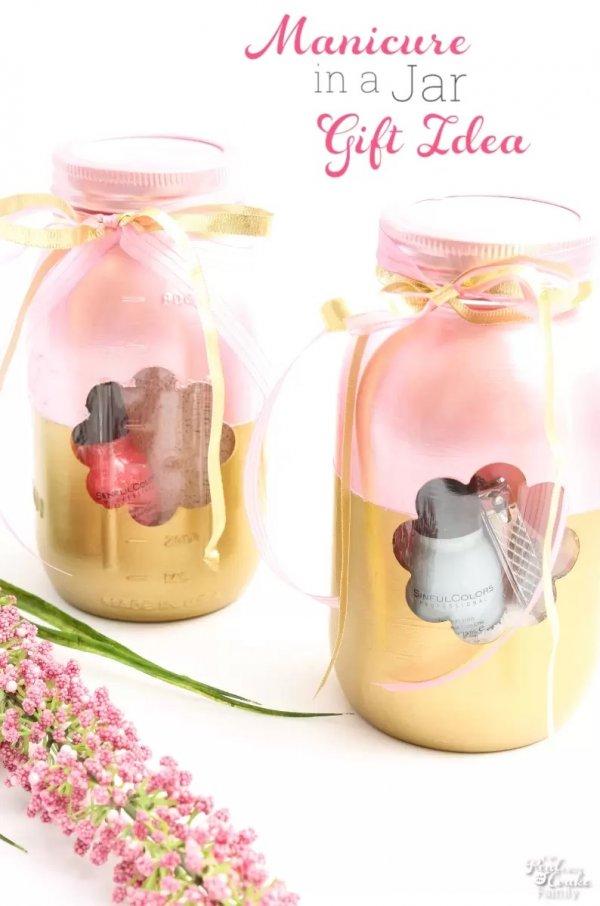 Manicure in a jar gift idea.