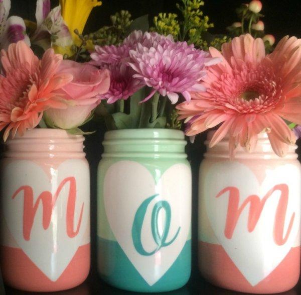 Mason jar vase for Valentine's day.