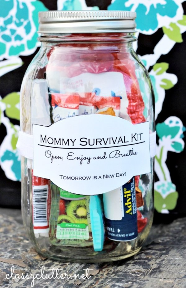 Mommy survival kit in a jar.