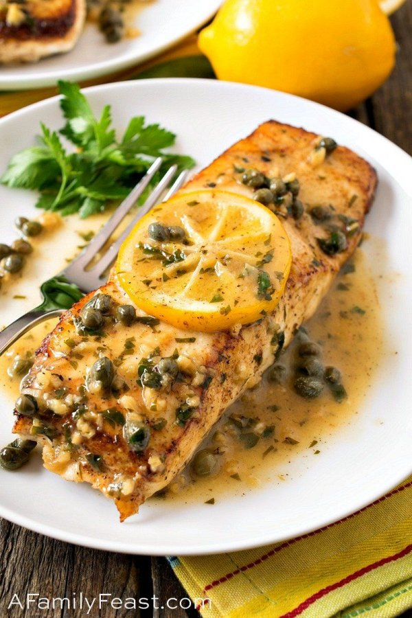 Pan Seared Halibut with Lemon Caper Sauce.