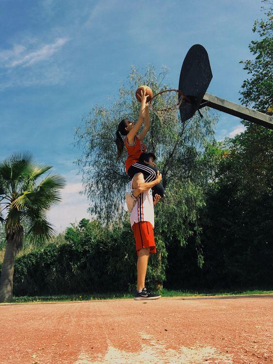 Play basket ball together.