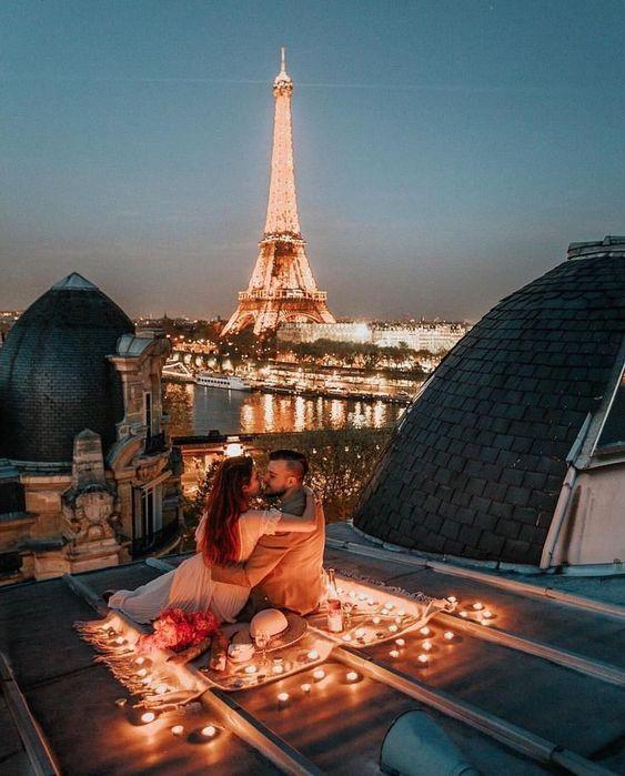 Romantic date on terrace.