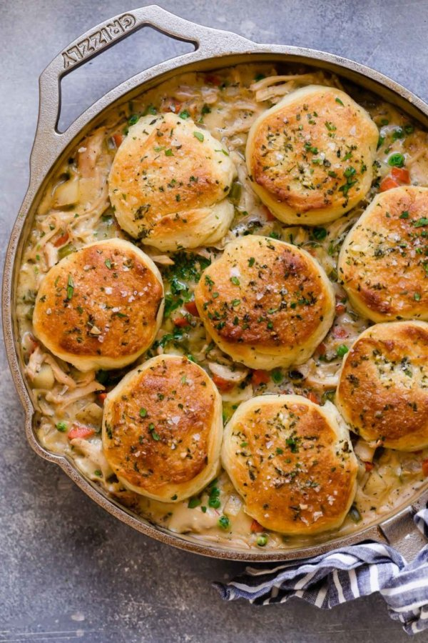 Skillet chicken pot pie.