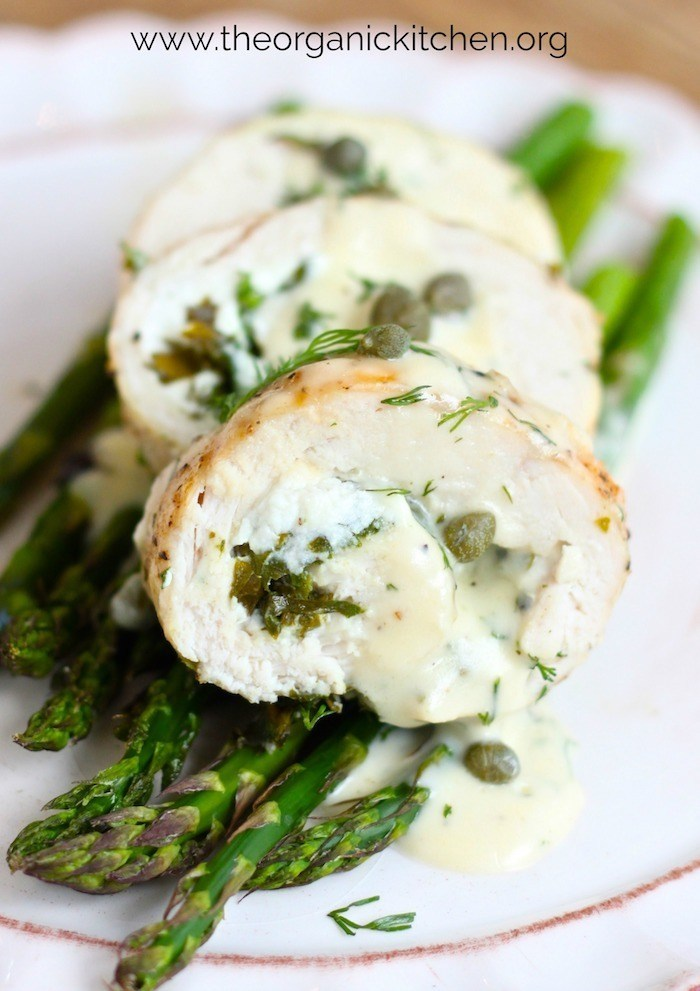 Spinach and Goat Stuffed Chicken Breast with Roasted Asparagus.