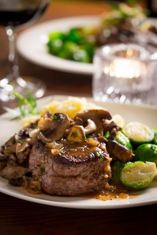 Steak with Tarragon Mushrooms.