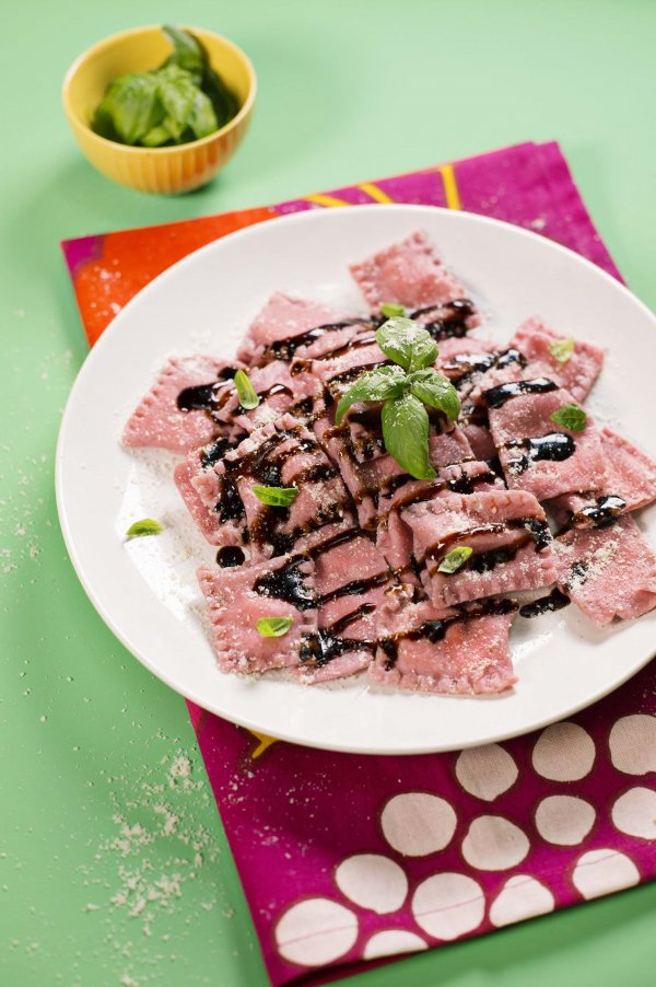 Strawberry Ravioli With Balsamic and Basil