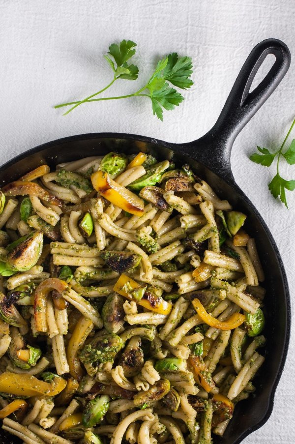 Winter walnut pesto pasta for dinner.