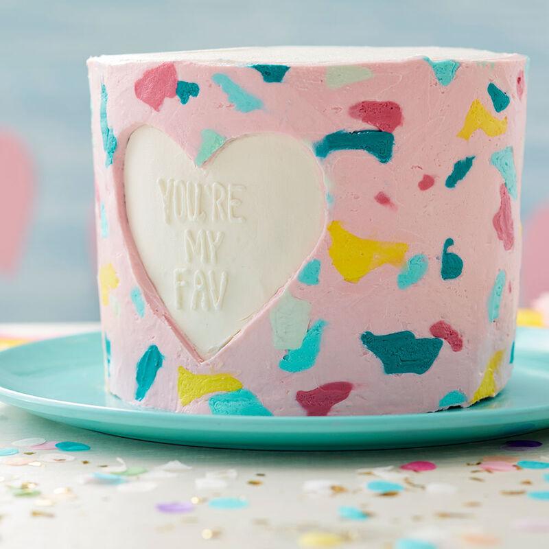 Butter cream transfer heart cake.