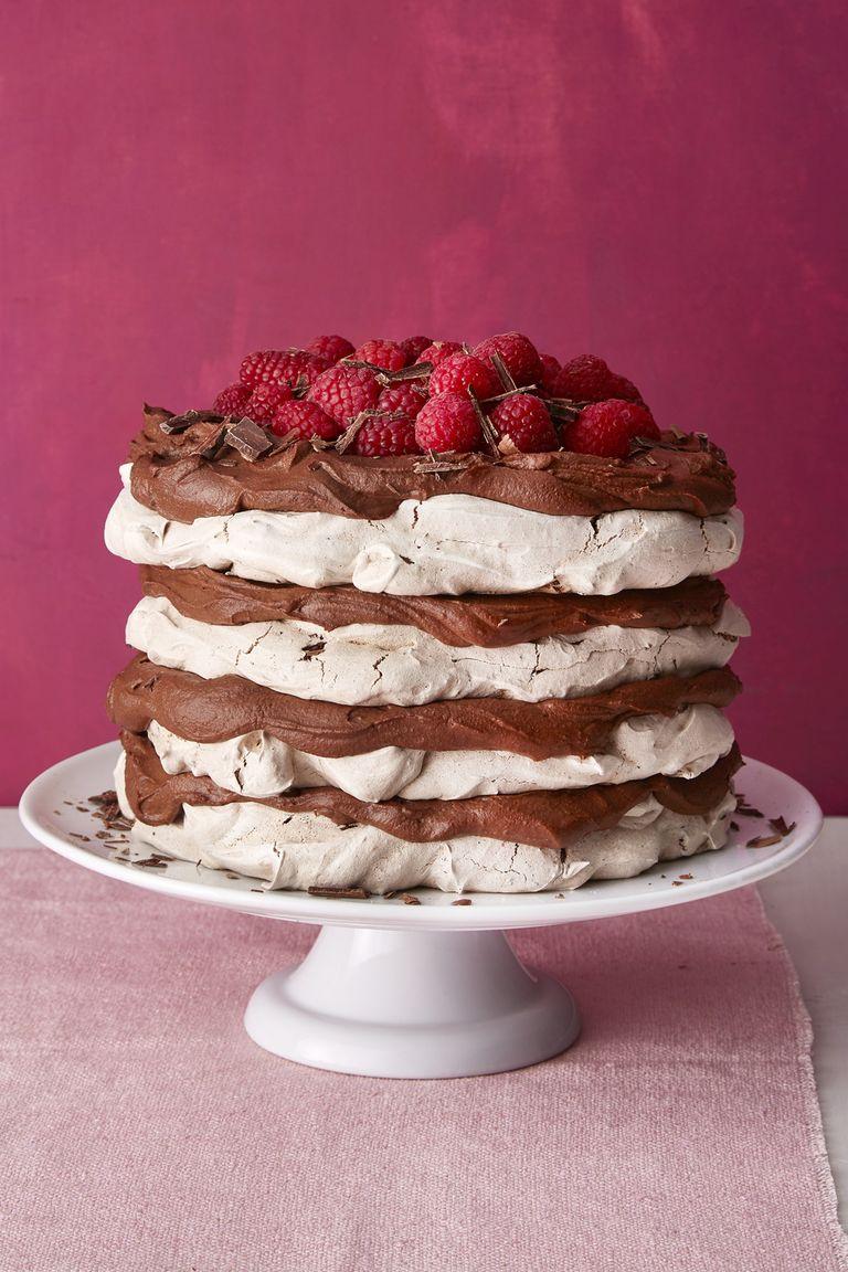 Chocolate meringue layer cake.
