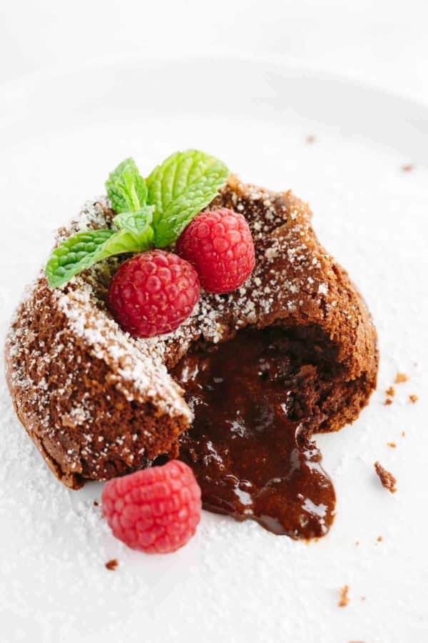 Classic chocolate molten lava cake.