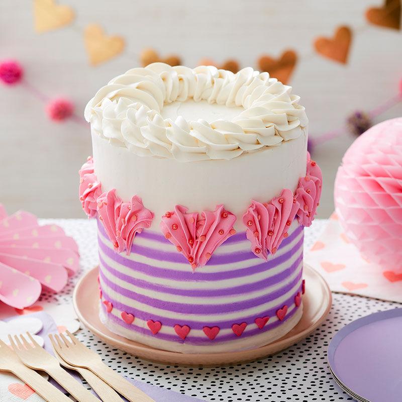 Cute striped buttercream cake.