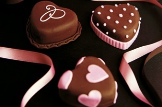French style chocolate heart cakes.