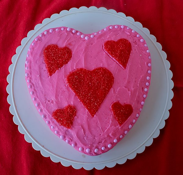 Heart cake for Valentines day.