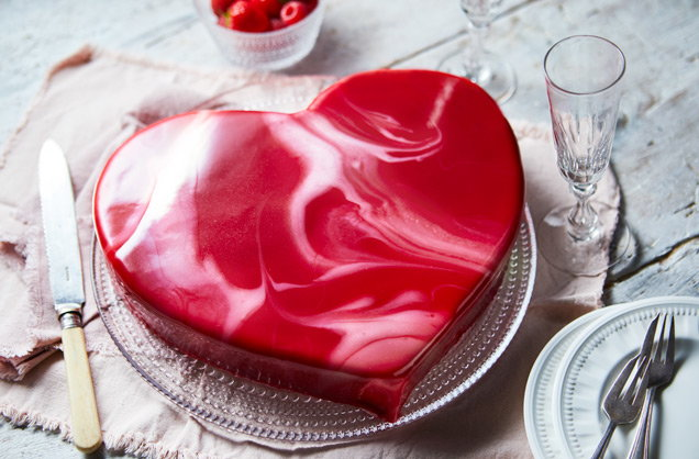 Heart shape mirror glaze cake for Valentines day.