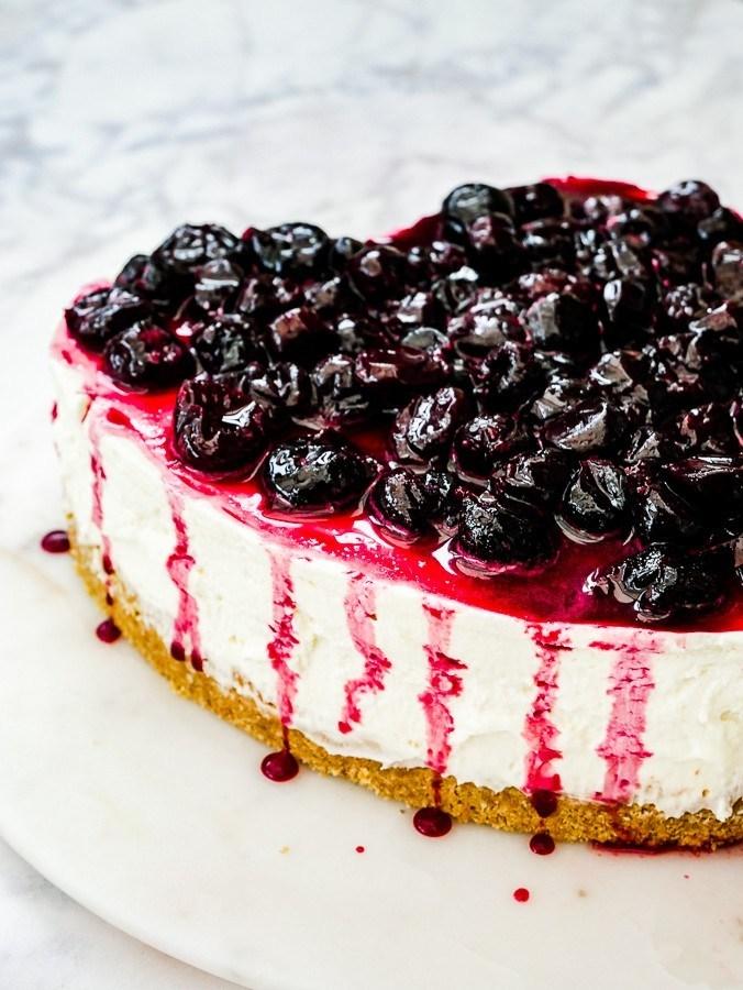 No bake amaretto cherry cheesecake.