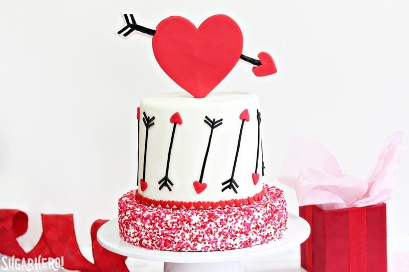 Pink and red velvet Valentines day cake.