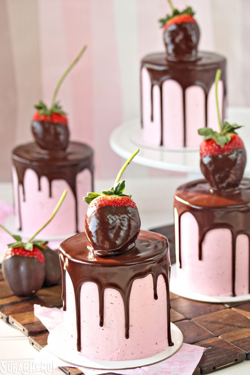 Tasty chocolate covered strawberry cake.