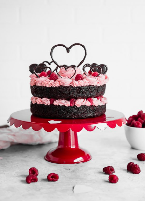 Valentines Day Chocolate Raspberry Cake.